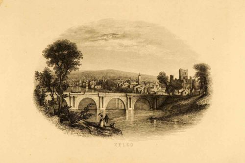 1852. Kelso, Scotland - Abbey Bridge - Steel Engraving - p1972